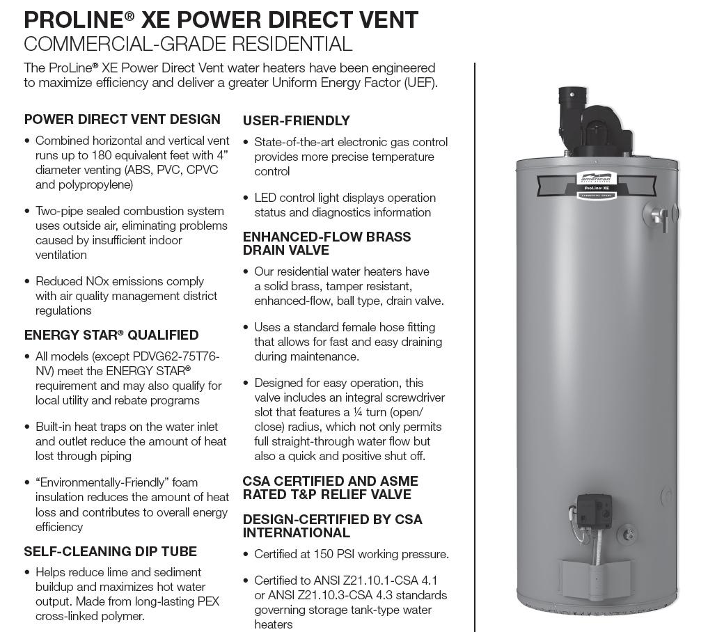 62 000 Btu Power Direct Vent Natural Gas 50 Gallon Water