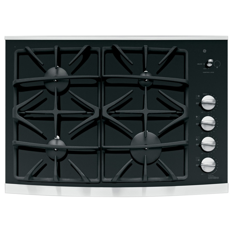 30 In Ge Profile Gas Cooktop Black Gl And Stainless