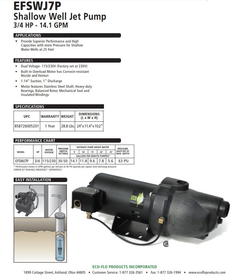 3  4 Hp Plastic Shallow Well Jet Pump Efswj7p