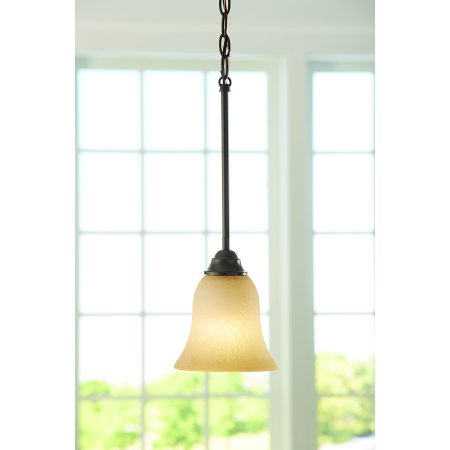 Light Fixtures Rochester Ny: 6.5-in Craftsman Tinted Glass Bell Standard Pendant