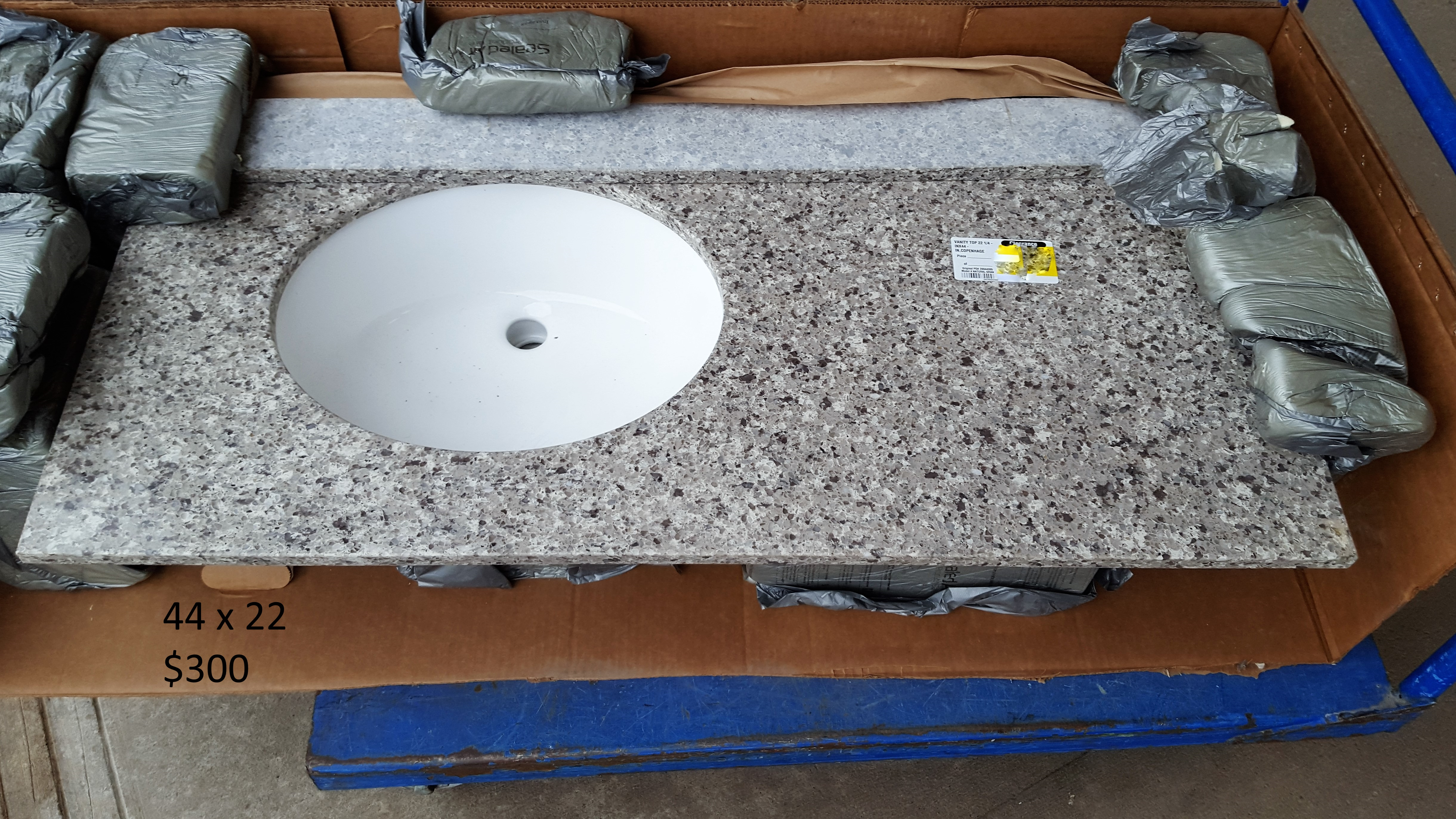 44 X 22 Granite Offset Vanity Top Grey Theclearanceman
