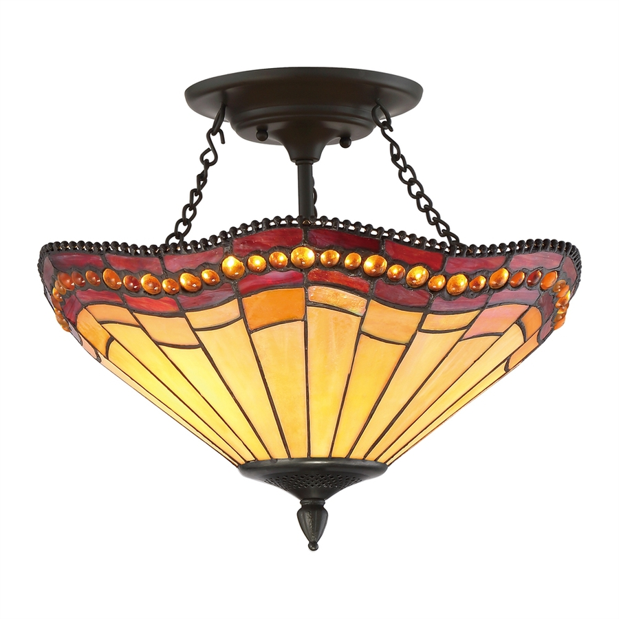 Light Fixtures Rochester Ny: 17-in Vintage Bronze Tea-stained Glass Semi-Flush Mount