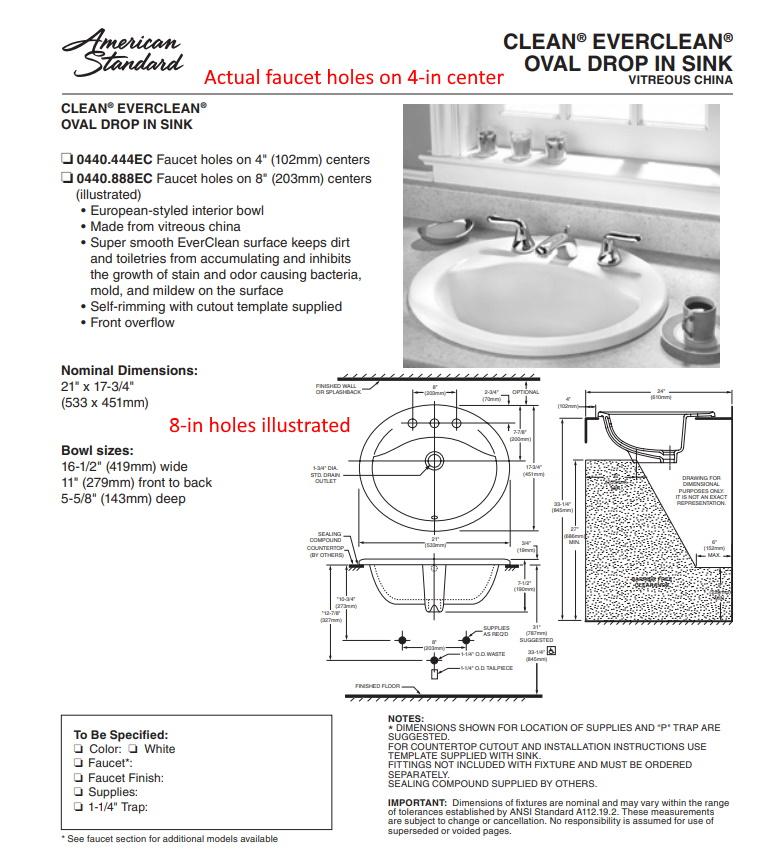 16 5 X 11 In American Standard Drop In Oval Bathroom Sink 0440 444ec White Theclearanceman